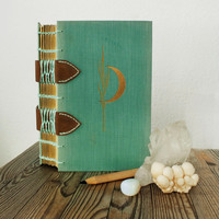 Moon journal, witch spell book, gold crescent moon diary, guestbook