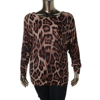 INC Womens Plus Knit Animal Print Pullover Sweater