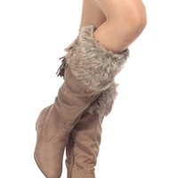 Taupe Faux Suede Knee High Faux Fur Boots