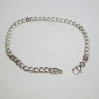 SU signed Sterling Silver Chain Bracelet Italy Delicate Jewelry