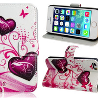 Heart & Butterfly Print Faux Leather Stand Protective Case for iPhone 5S/5