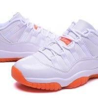 Hot Air Jordan 11 Low Women Shoes White Orange