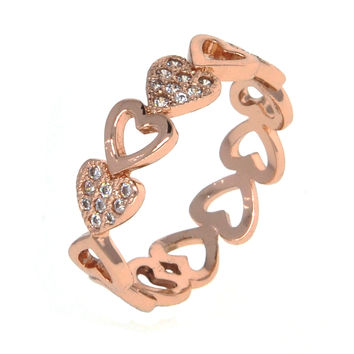 Dear Deer Rose Gold Plated Open Solid Heart Cubic Zirconia Cocktail Ring