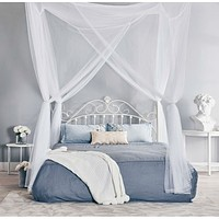 White 4-Post Bed Netting Mosquito Net for Canopy Beds - Fits size Full Queen and King