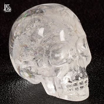 Skull Skulls Halloween Fall 2 inch Handmade Natural rock quartz Crystal Carved  Realistic Fengshui healing ability Stone Home Ornament art collectible Calavera