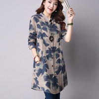 Spring New Fashion Floral Print Cotton Linen Blouses Korean Casual Long Sleeve Shirt Women Plus Size Women Top With Pockets