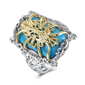 Turquoise Gold Filigree Statement Ring in 14K White Gold