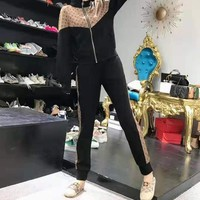""" LOUIS VUITTON"" Woman's Leisure Fashion Letter Personality Printing Zipper Spell Color Long Sleeve Hooded Tops Trousers Two-Piece Set Casual Wear"