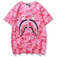 Bape Aape shark head flame camouflage T-shirt light blue light pink optional