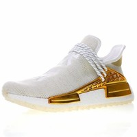 "Pharrell x adidas NMD Hu HOLI ""China Exclusive"" ""Light Gold Happy"" Running Shoes Sneaker F99762"
