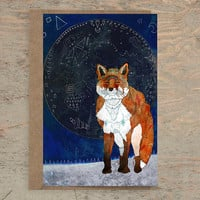 Lunar Kitsune - Greeting Card /// Fox Card, Fox Lover, Fox Artwork, Blank Card, Wildlife Card, Animal Card, Birthday Card, Any Occasion Card