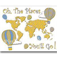 Nursery world map artwork Oh the places you'll go baby boy room art dr Seuss quote  playroom wall decor toddler hot air balloon yellow grey