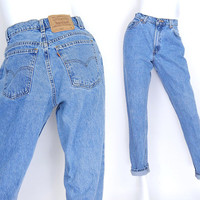 Sz 8 Levis 15951 High Waisted Mom Jeans - Vintage 80s 90s Tapered Leg Women's Stone Washed Blue Jeans - Made in USA Levis