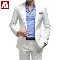 Free shipping Men's clothing business suit men's blazer man pants slim fit white suits quality solid colour fomal suit set XXXL