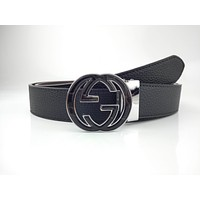 Gucci's popular belt with double G plate buckle casual versatile belt