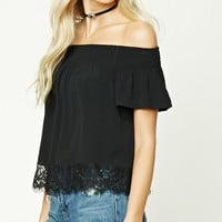 Off-the-Shoulder Lace Crop Top