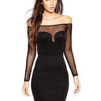 Off-shoulder Long Sleeve Bodycon Mini Dress with Mesh Accent