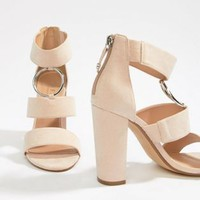 Office Habibi suede three strap chunky heeled sandals at asos.com