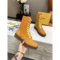 FENDI 2021Trending Women's men Leather Side Zip Lace-up Ankle Boots Shoes High Boots07130xf
