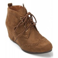 City Classified Lace Up Floral Lace Wedge Sneaker Bootie CHESTNUT