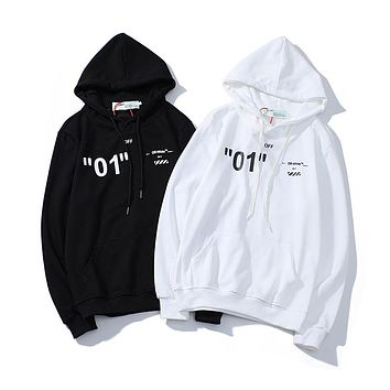 """OFF-White new sweater, simple """"01"""" letter diagonal stripe pattern, men's and women's hoodies"""