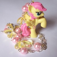 Sweet Wings - My Little Pony Pastel Fluttershy Necklace with Pink Glass Pearls and Iridescent Hearts from On Secret Wings