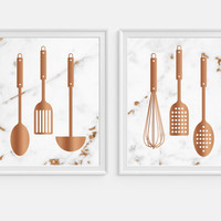 Kitchen Wall Art, Marble Decor, Cook Print, Cooking Art, Kitchen Utensils, Copper Decor, Kitchen Art Prints, Kitchen Decor, Set of Two