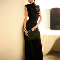 Black Cowl Neck Ruched Maxi Dress