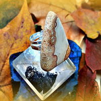 Triangle Stone Agate Ring, Adjustable ring, Bohemian, Ready to ship, Direct checkout