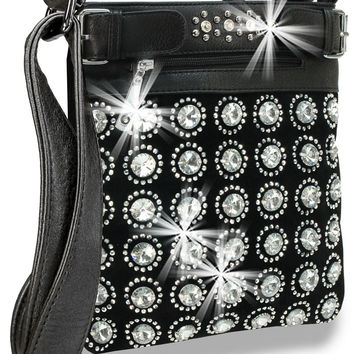 + Gem Pattern Crossbody Handbag In Black