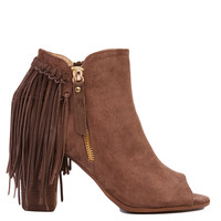 Open Toe Taupe Fringe Heeled Booties