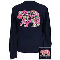 Girlie Girl Originals Preppy Watercolor Mama Bear Long Sleeve T-Shirt