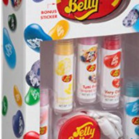 Jelly Belly Flavored Lip Balm Gift Set, (7 pc)5 Flavored Lip Blams, 1 Necklace Topper & 1 Sticker
