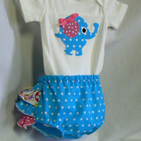 Baby Clothes, Toddler Girls Blue Elephant Applique Onesuit Diaper Cover Gift Set, Childrens Clothing Spring Summer