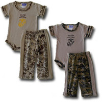 """""""Major Trouble"""" 2-Piece Set in Woodland or Desert Digital Camo, Marine Corps Infant and Baby Major Trouble Outfit"""