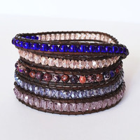 Beaded Leather Wrap Bracelet 5 Wrap with Shades of Purple Glass Beads and Purple Jasper on Genuine Gray Brown Leather