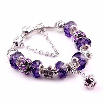 Fashion Women 925 Sterling Silver Purple Crystal  Lucky Wheel Crown Braclet
