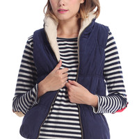 ROMWE | Cable Knit Hooded Navy-blue Vest, The Latest Street Fashion