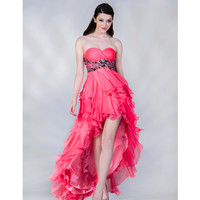 2013 Prom Dresses- Hot Pink High-Low Ruffle Gown - Unique Vintage - Prom dresses, retro dresses, retro swimsuits.