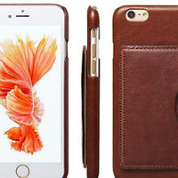 Leather Card Holder Case For iPhone 6 & 6S, Brown