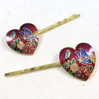 Red heart hair pin, butterfly hair pin, cloisonné hair pin,  red heart bobby pin, flower hair pin, flower hair clip, butterfly bobby pin