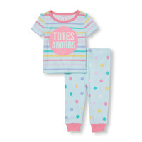 Baby And Toddler Girls Short Sleeve 'Totes Adorbs' Striped Top and Dot Print Pants PJ Set | The Children's Place