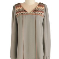 ModCloth Boho Mid-length Long Sleeve Upbeat of Your Own Drum Top