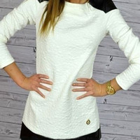 White Long-Sleeve Knitted Mini Dress with Leather Accent