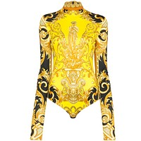 Versace New fashion human head print long sleeve one piece bikini swimsuit