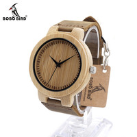 Men's Design Luxury Wooden Bamboo Watches With Real Leather Quartz Movement Watch for Men in Gift Box