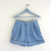 STOREWIDE SALE...Vintage 80s blue POLO shorts. roll up shorts.