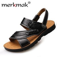 Merkmak Men Sandals Shoes Fashion Genuine Leather Casual Summer Beach Slippers Men's Flats Footwear Zapatos Hombre Free Shipping