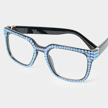 Crystal Rhinestone Retro Square Sunglasses