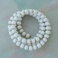 White Bead Memory Wire Coiled Bracelet Vintage Jewelry